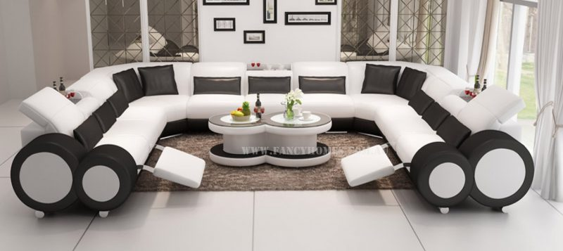 Fancy Homes Renata-B U-shaped corner leather sofa in white and black leather