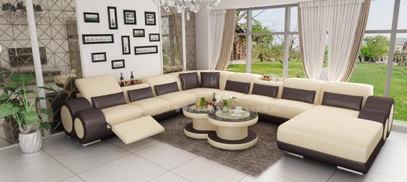 Fancy Homes Renata modular leather sofa in beige and brown leather