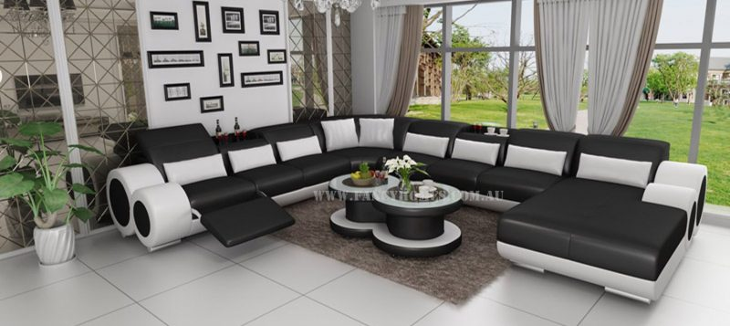 Fancy Homes Renata modular leather sofa in black and white leather