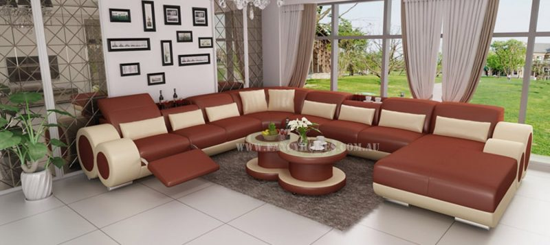 Fancy Homes Renata Modular Leather Sofa in bronze and beige leather
