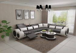 Fancy Homes Renata-D corner leather sofa in grey and white leather featuring built-in middle table and foldable footrests