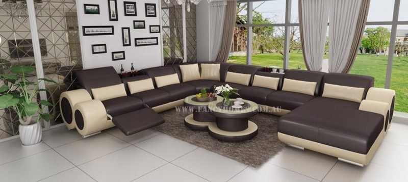 Fancy Homes Renata Modular leather sofa in brown and beige leather
