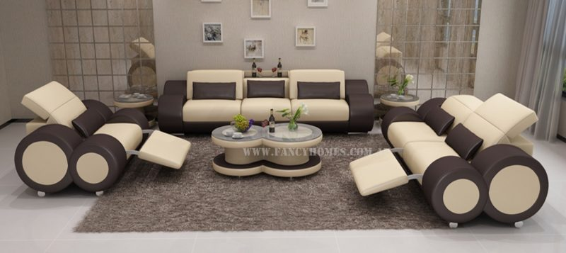 Fancy Homes Renata-E lounges suites leather sofa in beige and brown leather