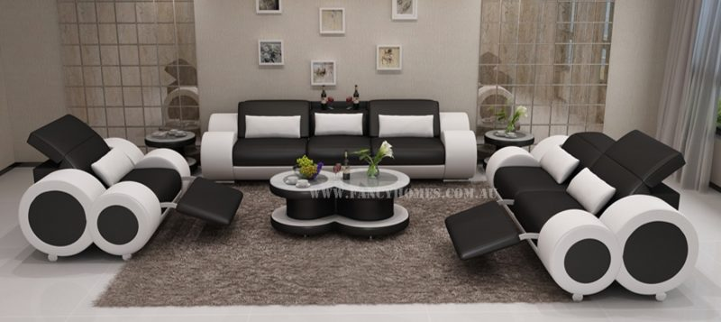 Fancy Homes Renata-E lounges suites leather sofa in black and white leather