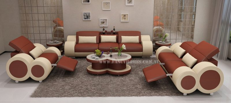 Fancy Homes Renata-E lounges suites leather sofa in bronze and beige leather