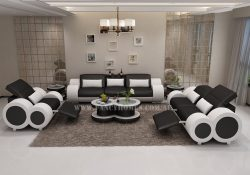 Fancy Homes Renata-E lounges suites leather sofa in black and white leather with built-in middle table and foldable footrests