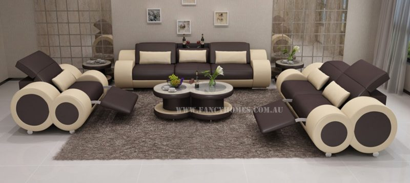 Fancy Homes Renata-E lounge suites leather sofa in brown and beige leather
