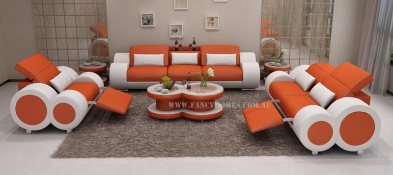Fancy Homes Renata-E lounges suites leather sofa in orange and white leather