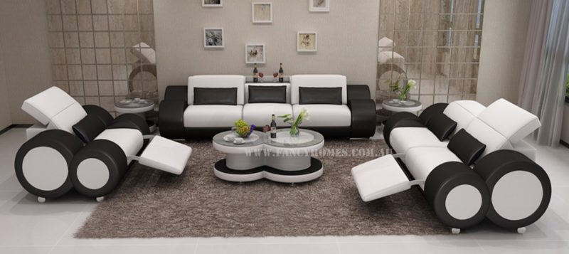 Fancy Homes Renata-E lounges suites leather sofa in white and black leather