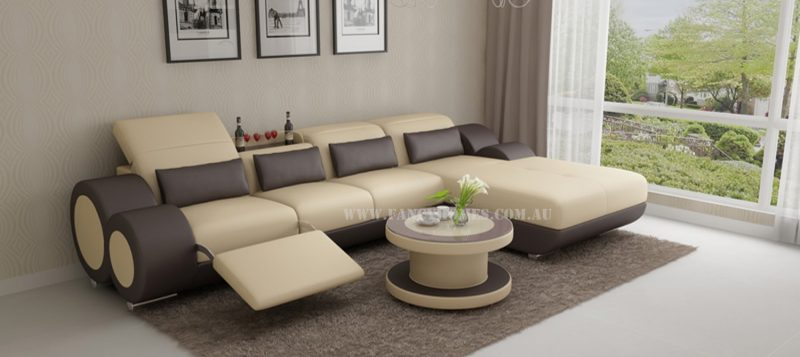 Fancy Homes Renata-H chaise leather sofa in beige and brown leather