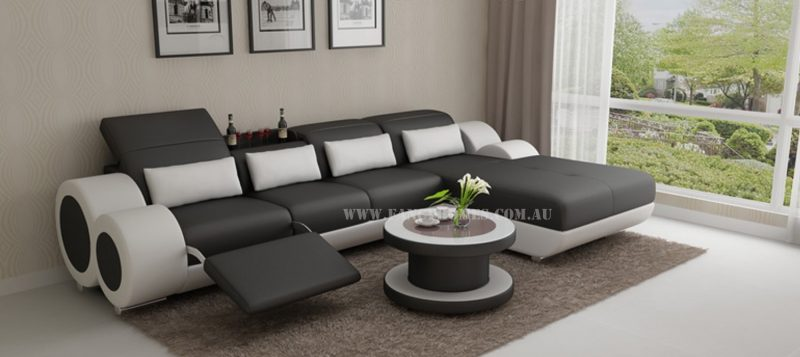 Fancy Homes Renata-H chaise leather sofa in black and white leather