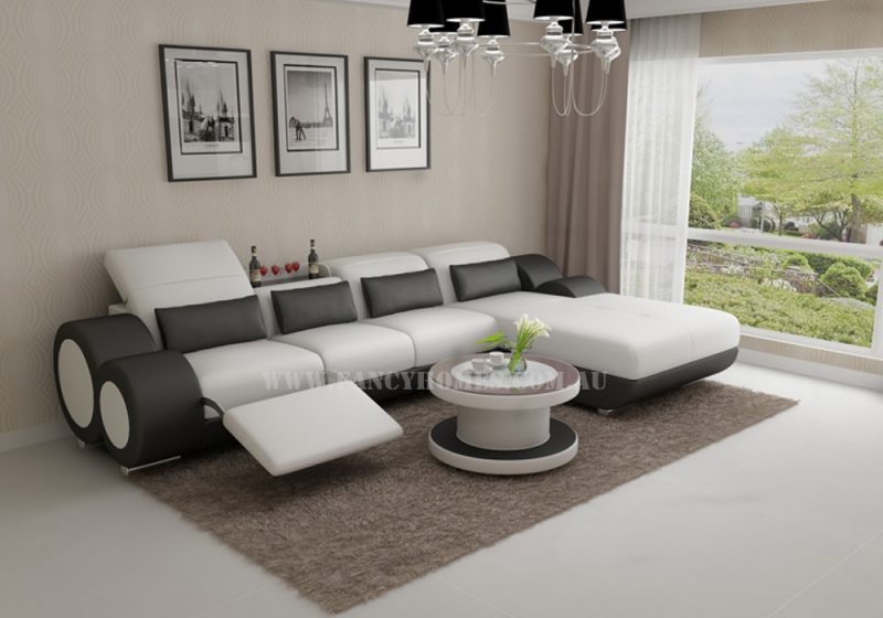 Fancy Homes Renata-H chaise leather sofa in white and black leather featured with foldable footrest and built-in middle table