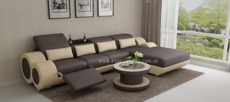Fancy Homes Renata-H chaise leather sofa in brown and beige leather