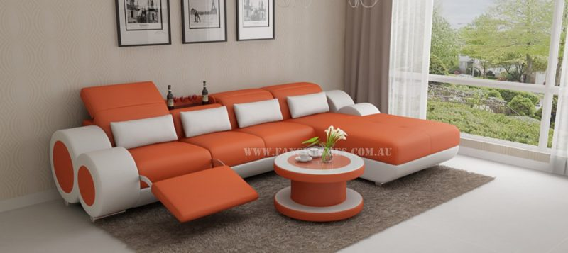 Fancy Homes Renata-H chaise leather sofa in orange and white leather