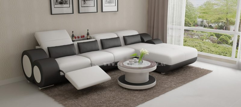 Fancy Homes Renata-H chaise leather sofa in white and black leather
