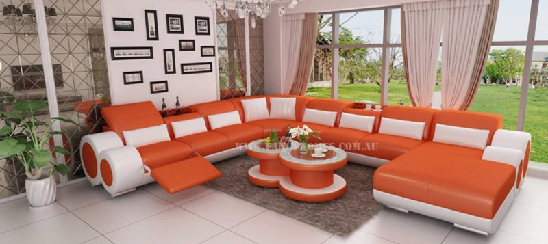 Fancy Homes Renata modular leather sofa in orange and white leather