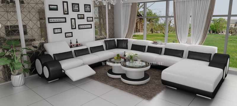 Fancy Homes Renata modular leather sofa in white and black leather