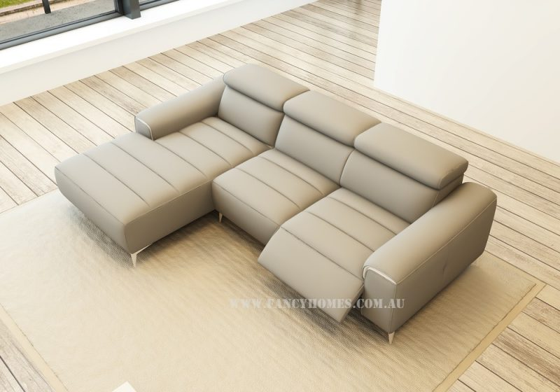 Fancy Homes Rico-B chaise leather sofa in beige leather