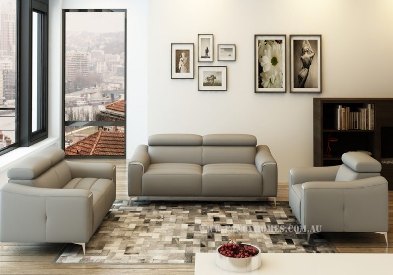 Fancy Homes Rico lounges suites leather sofa in beige leather with adjustable headrests and polished stainless steel sofa legs