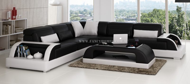 Fancy Homes Siena-B corner leather sofa in black and white leather comes with matching coffee table