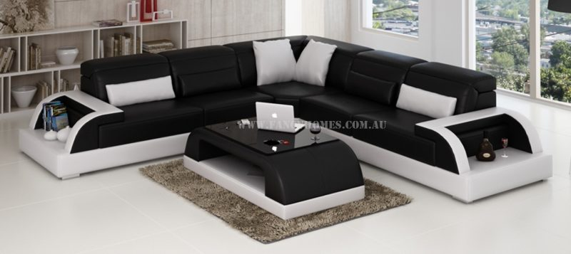 Fancy Homes Siena-B in black and white leather
