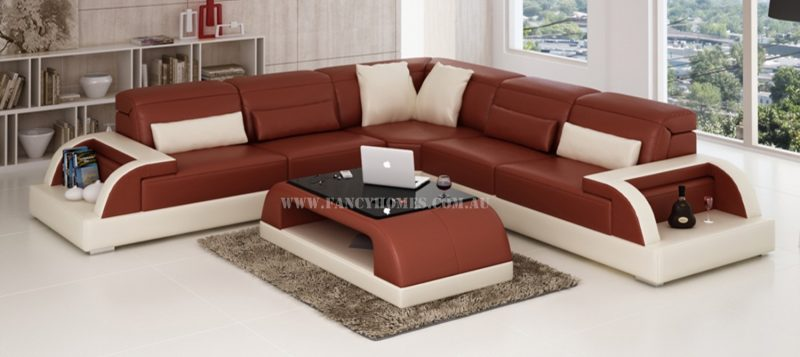 Fancy Homes Siena-B corner leather sofa in maroon and white leather