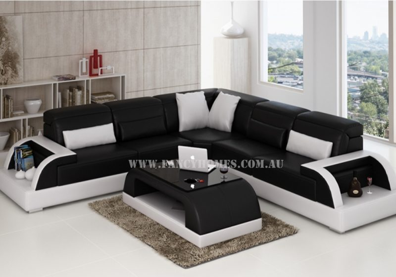 Fancy Homes Siena-B corner leather sofa in black and white leather featured with adjustable headrests, curved armrests with storage