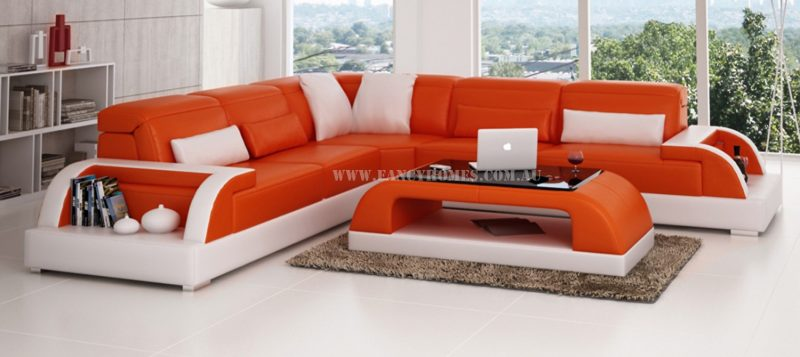 Fancy Homes Siena-B corner leather sofa in orange and white leather