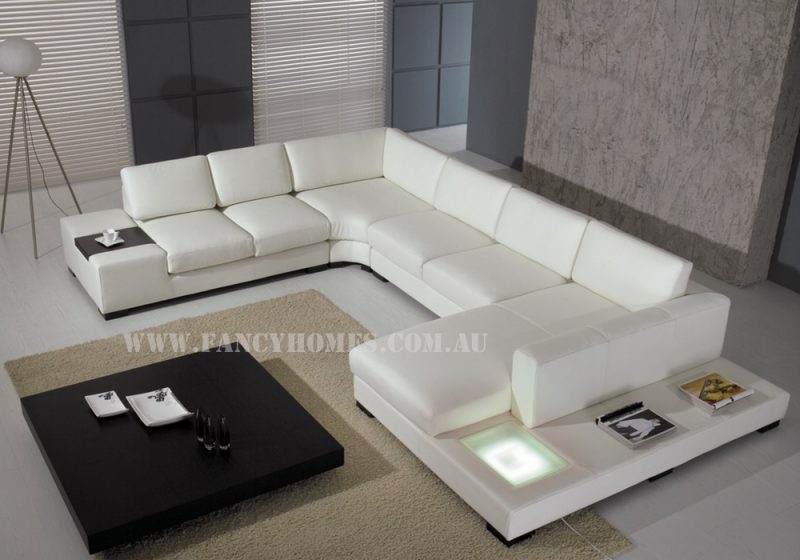 Fancy Homes Sonia modular leather sofa in pure white leather featuring in-built side table and lighting system