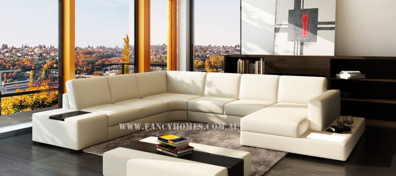 Fancy Homes Sonia modular leather sofa in creamy white leather featuring in-built side table and lighting system