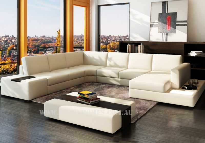 Fancy Homes Sonia modular leather sofa in creamy white leather