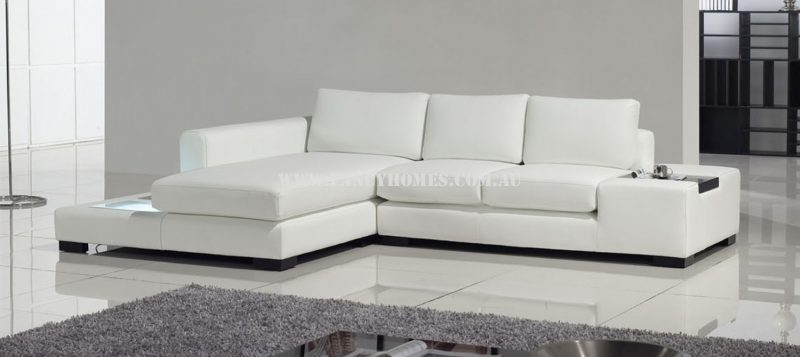 Fancy Homes Sonia-B chaise leather sofa in white leather