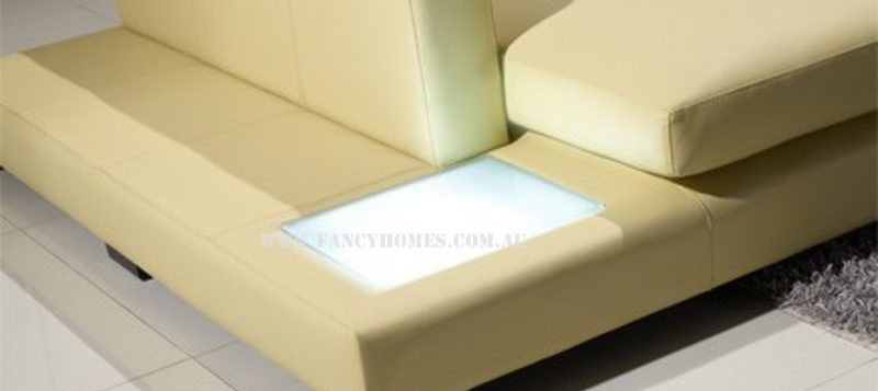Fancy Homes Sonia-B chaise leather sofa is featured with lighting system