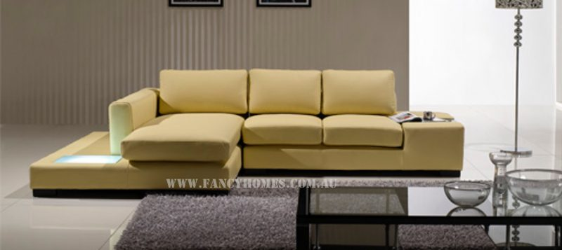 Fancy Homes Sonia-B chaise leather sofa in cream leather featuring LED lighting and in-built side table