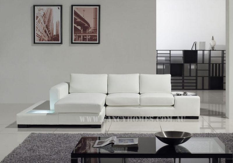 Fancy Homes Sonia-B chaise leather sofa in white leather featuring built-in side table and lightings