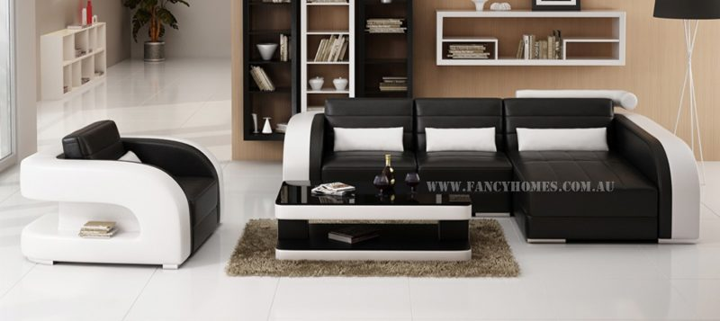 Fancy Homes Stream chaise leather sofa in black and white leather