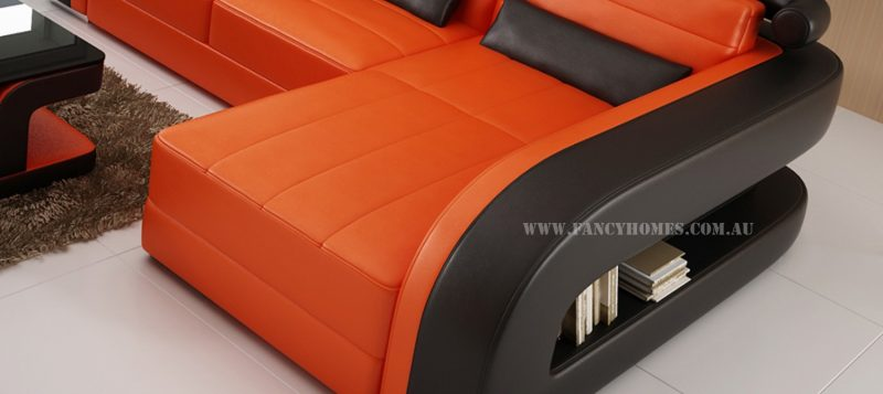 The chaise of Fancy Homes Stream chaise leather sofa
