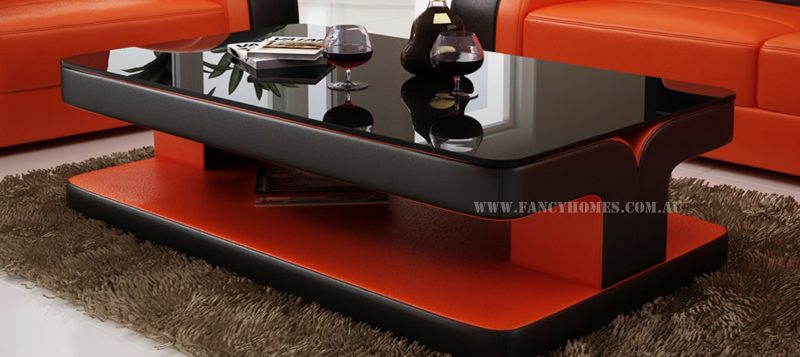 Fancy Homes Stream chaise leather sofa features matching coffee table
