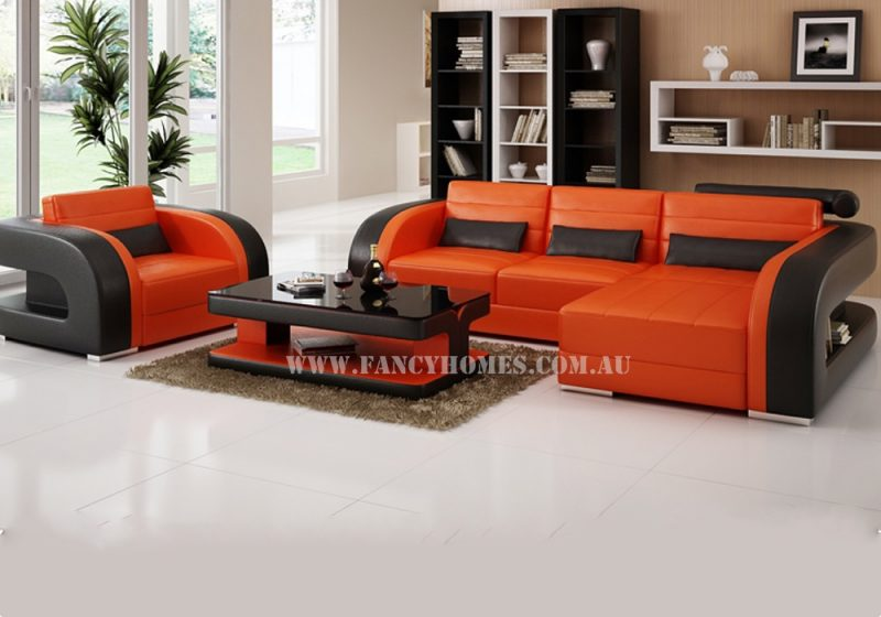Fancy Homes Stream chaise leather sofa in orange and black leather