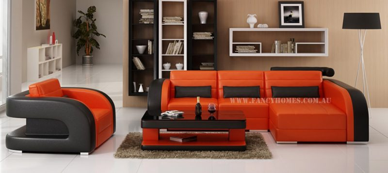 Fancy Homes Stream chaise leather sofa in orange and black