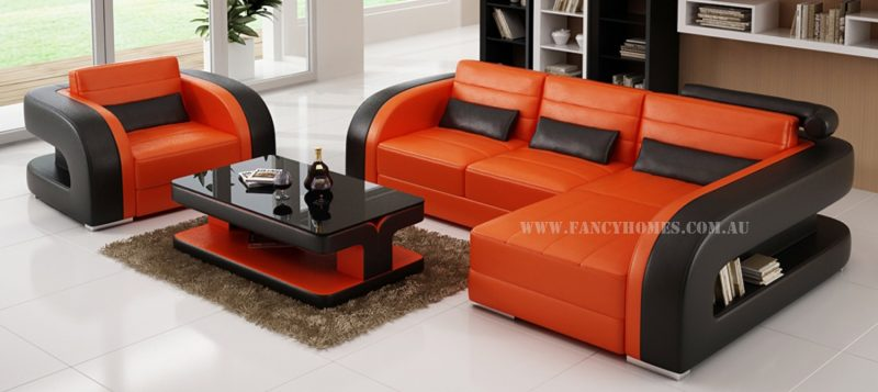 Fancy Homes Stream chaise leather sofa in orange and black leather featuring unique design armrests with storage space underneath