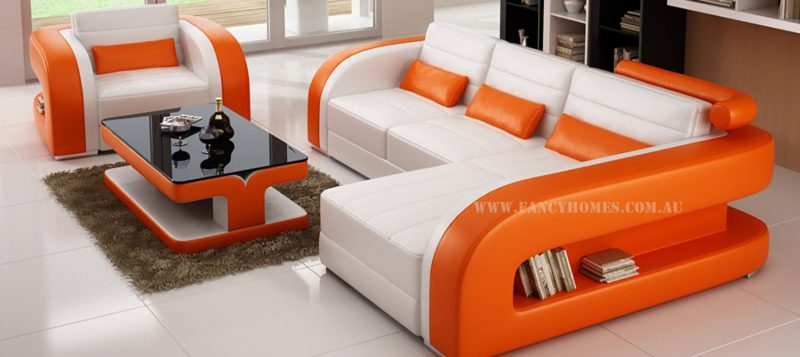 Fancy Homes Stream chaise leather sofa in white and orange