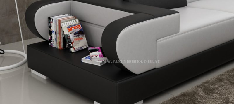 Fancy Homes Teresa-B corner leather sofa is featured with storage armrests