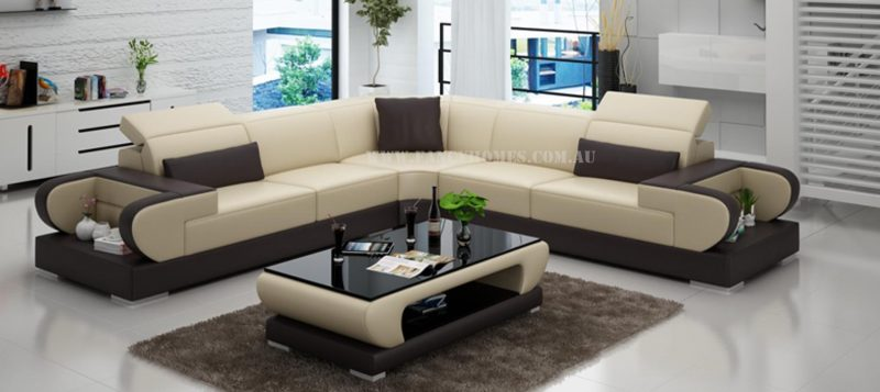 Fancy Homes Teresa-B corner leather sofa in beige and brown leather