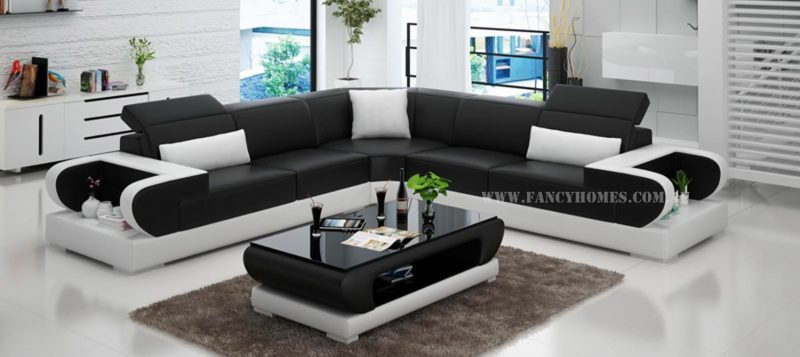 Fancy Homes Teresa-B corner leather sofa in black and white leather