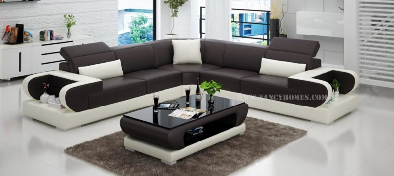 Fancy Homes Teresa-B corner leather sofa in brown and white leather