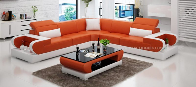 Fancy Homes Teresa-B corner leather sofa in orange and white leather