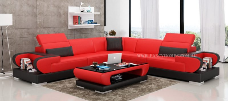 Fancy Homes Teresa-B corner leather sofa in red and black leather