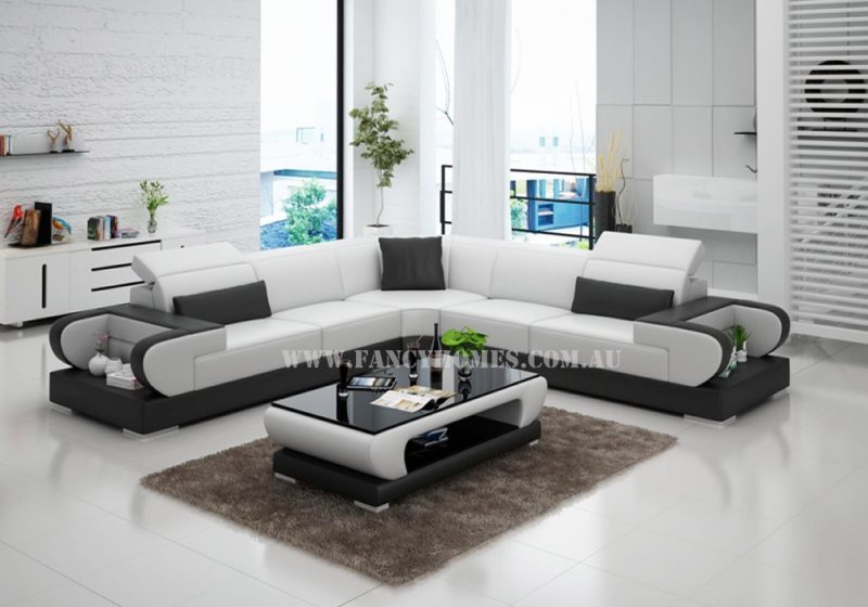 Fancy Homes Teresa-B corner leather sofa in white and black featuring adjustable headrests, storage armrests.