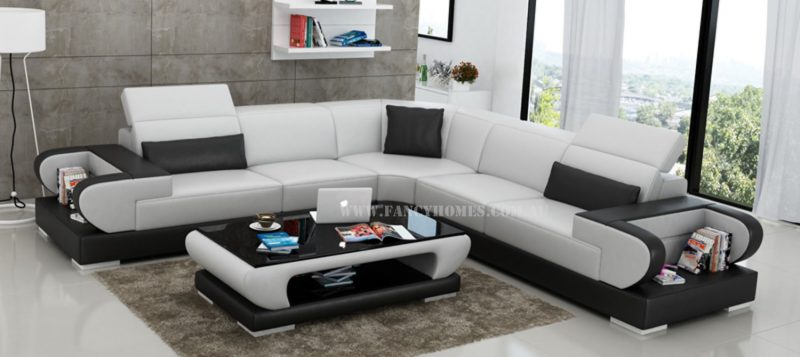Fancy Homes Teresa-B corner leather sofa in white and black leather